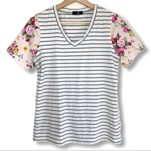 Ampersand Ave Strpied and Floral T Shirt